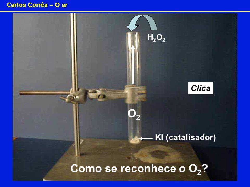 H2O2 Clica O2 KI (catalisador) Como se reconhece o O2