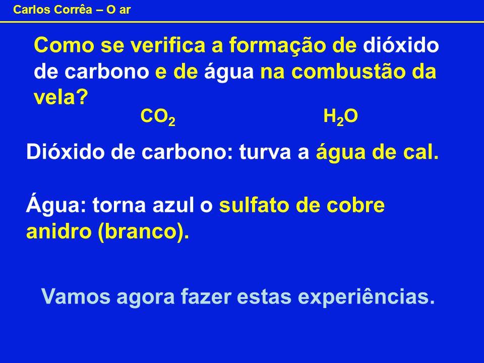 Dióxido de carbono: turva a água de cal.