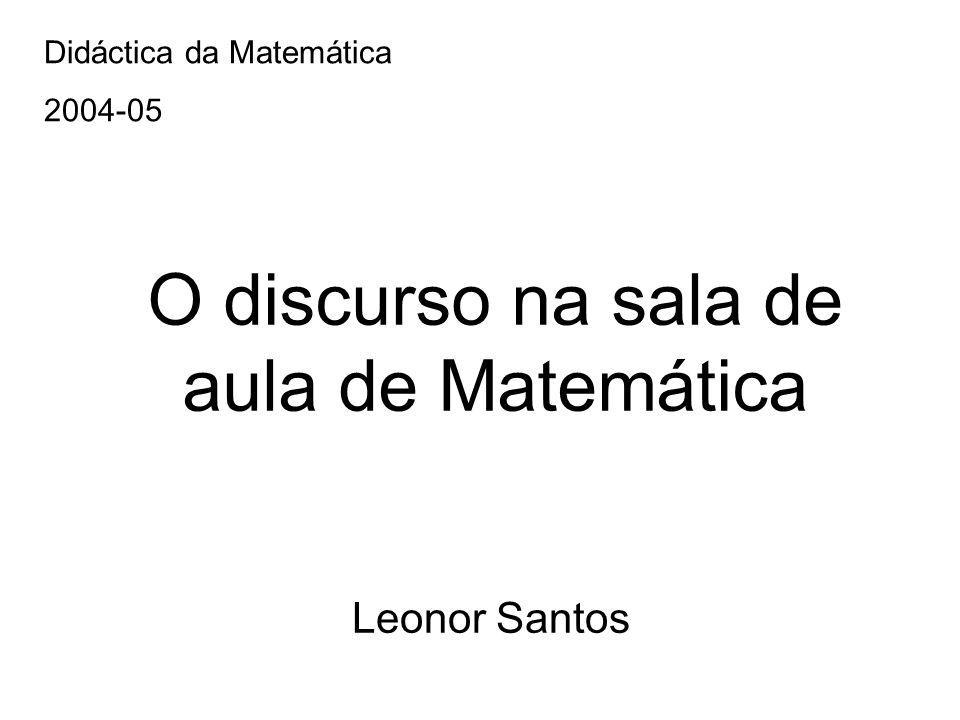O discurso na sala de aula de Matemática