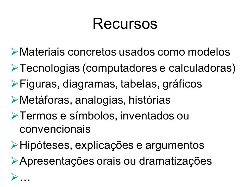 Recursos Materiais concretos usados como modelos