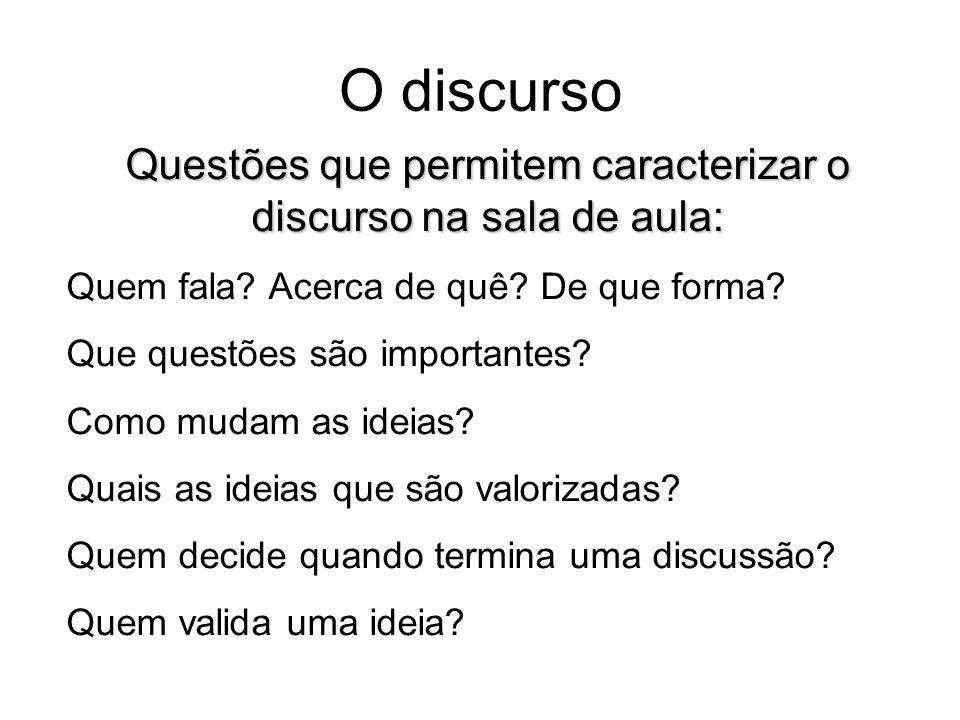 Questões que permitem caracterizar o discurso na sala de aula: