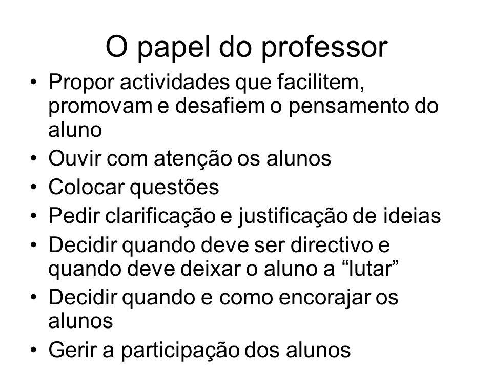 O papel do professor Propor actividades que facilitem, promovam e desafiem o pensamento do aluno. Ouvir com atenção os alunos.