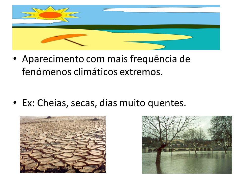 Aparecimento com mais frequência de fenómenos climáticos extremos.