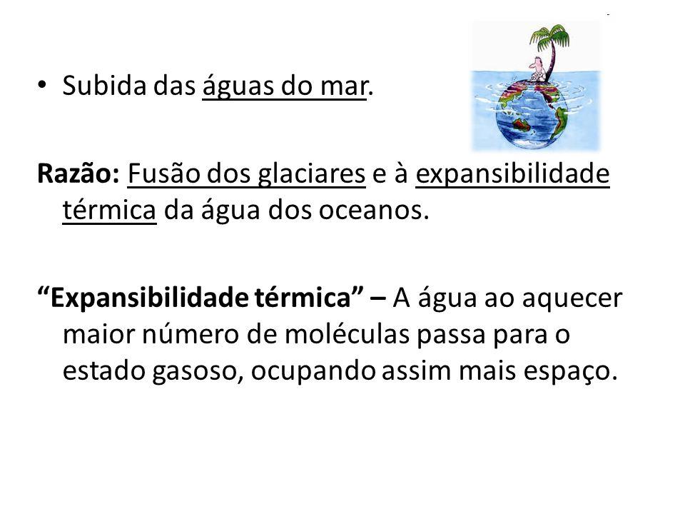 Subida das águas do mar. Razão: Fusão dos glaciares e à expansibilidade térmica da água dos oceanos.