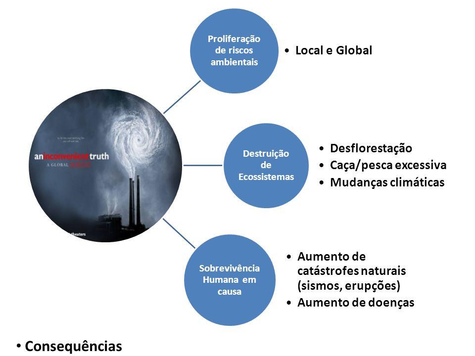 Consequências Local e Global Desflorestação Caça/pesca excessiva