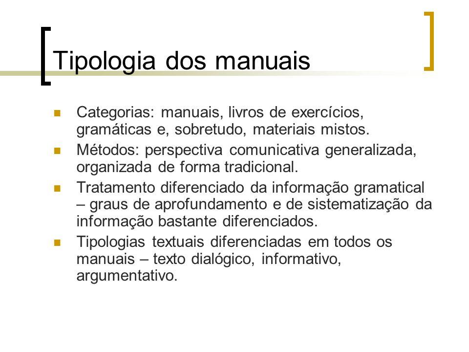 Tipologia dos manuais Categorias: manuais, livros de exercícios, gramáticas e, sobretudo, materiais mistos.