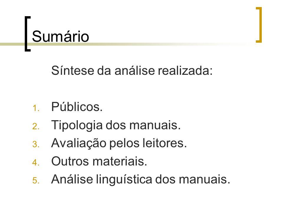 Sumário Síntese da análise realizada: Públicos. Tipologia dos manuais.