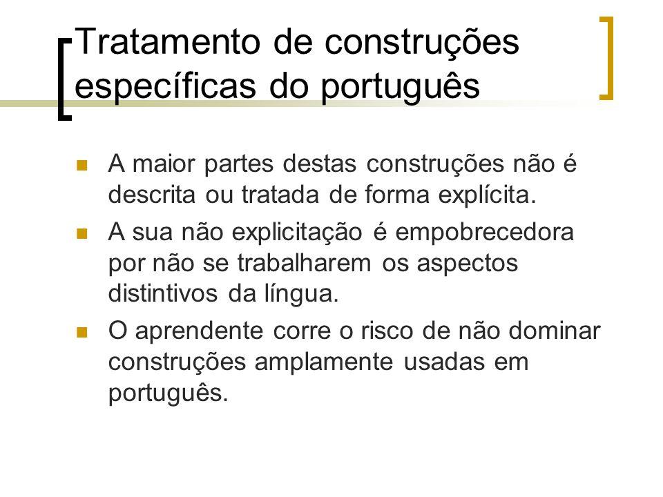 Tratamento de construções específicas do português