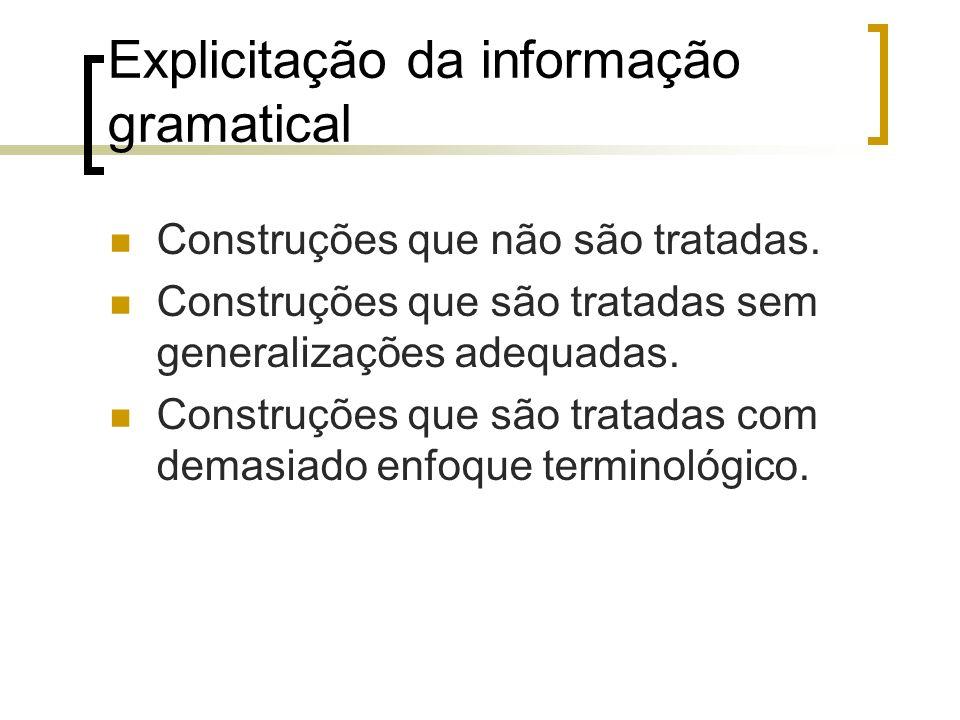 Explicitação da informação gramatical