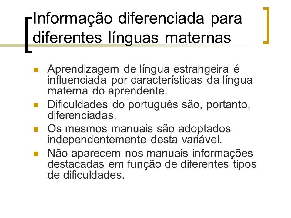 Informação diferenciada para diferentes línguas maternas