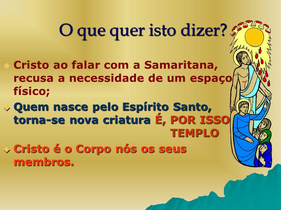 O que quer isto dizer Cristo ao falar com a Samaritana, recusa a necessidade de um espaço físico;