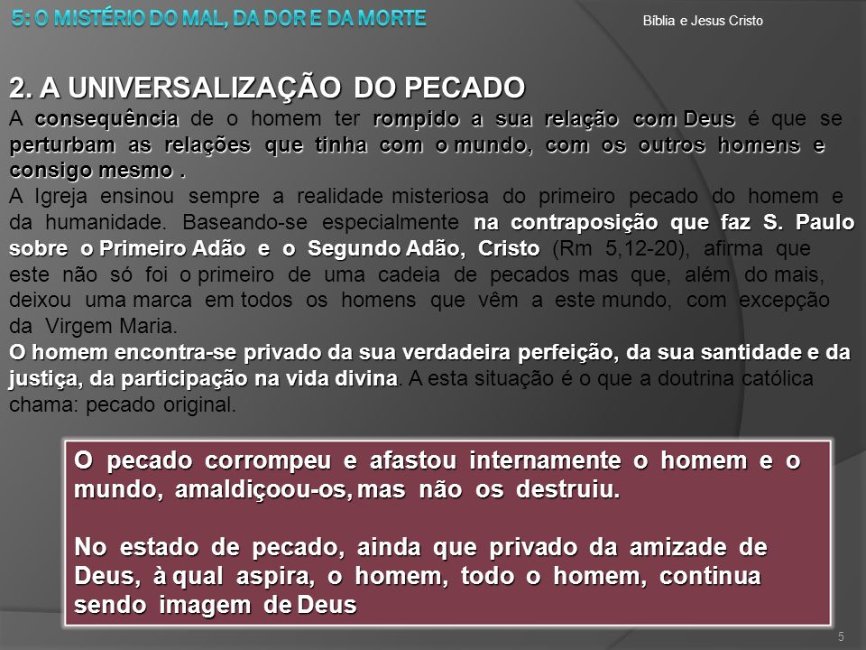 2. A UNIVERSALIZAÇÃO DO PECADO