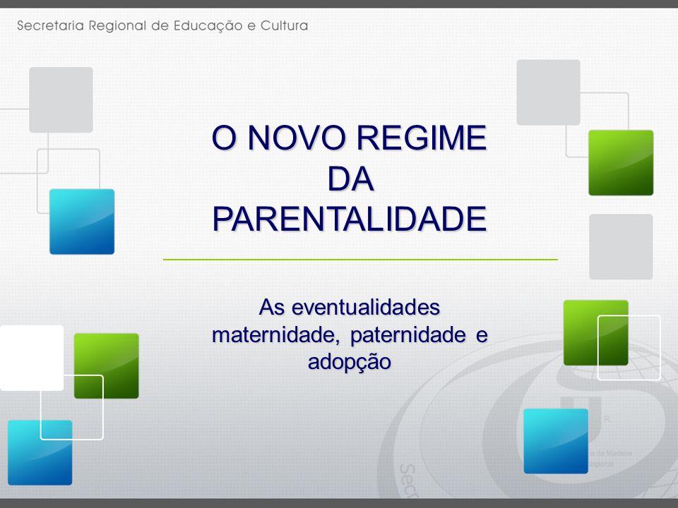 As eventualidades maternidade, paternidade e adopção