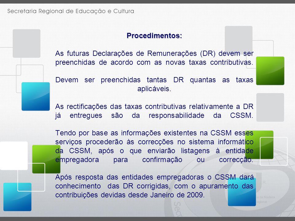 Procedimentos: As futuras Declarações de Remunerações (DR) devem ser preenchidas de acordo com as novas taxas contributivas.