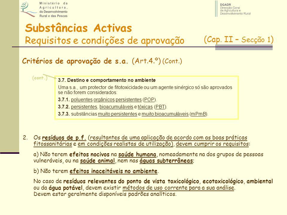 Substâncias Activas Requisitos e condições de aprovação