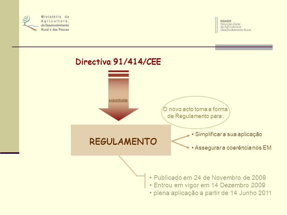 REGULAMENTO Directiva 91/414/CEE Publicado em 24 de Novembro de 2009
