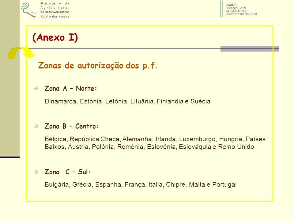 (Anexo I) Zonas de autorização dos p.f. Zona A – Norte: