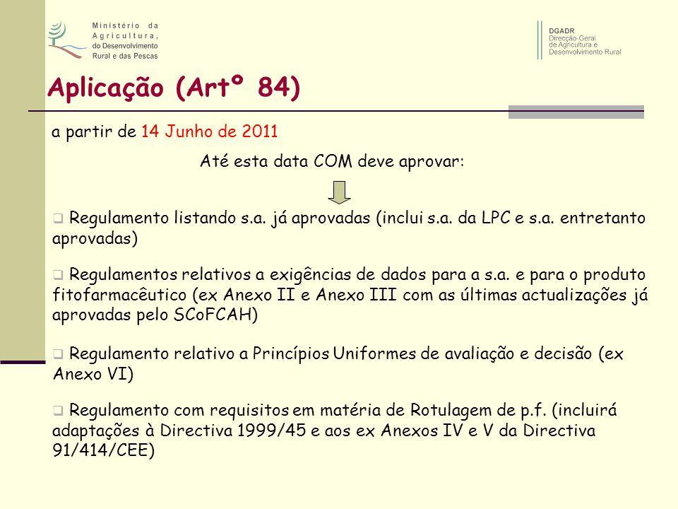 Aplicação (Artº 84) a partir de 14 Junho de 2011