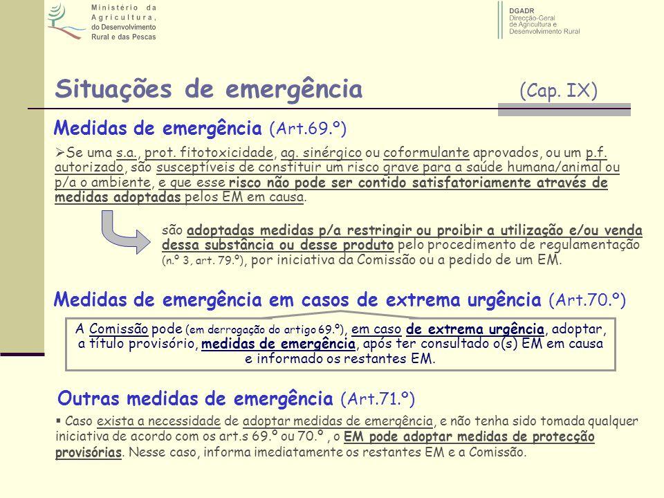 Situações de emergência (Cap. IX)