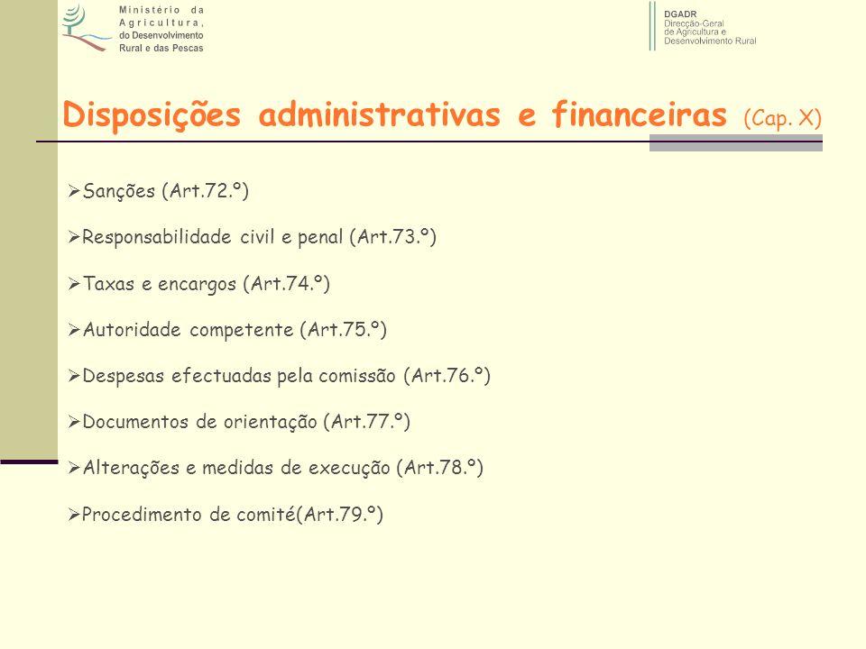 Disposições administrativas e financeiras (Cap. X)