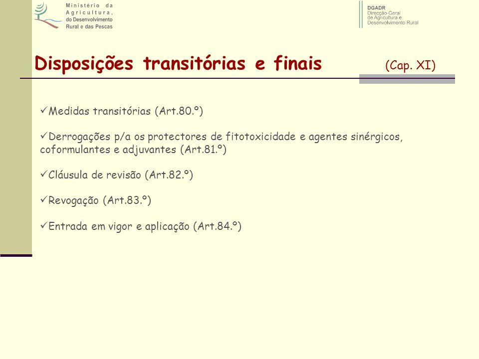 Disposições transitórias e finais (Cap. XI)