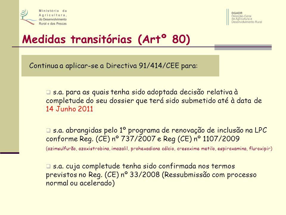 Medidas transitórias (Artº 80)