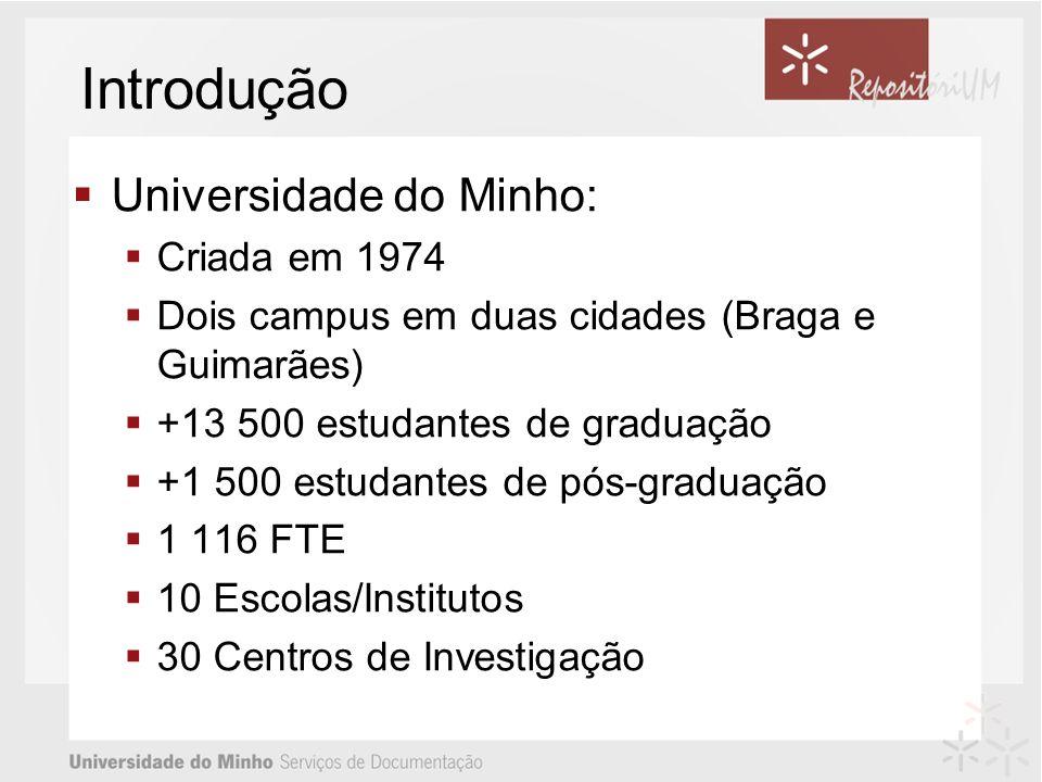 Introdução Universidade do Minho: Criada em 1974