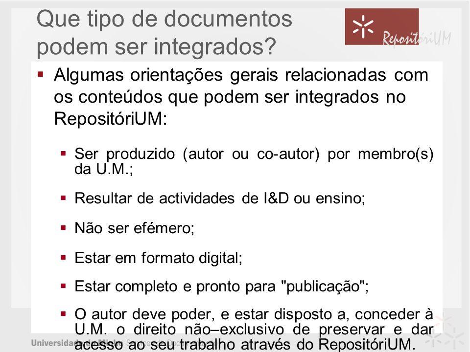 Que tipo de documentos podem ser integrados