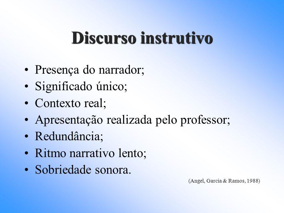 Discurso instrutivo Presença do narrador; Significado único;