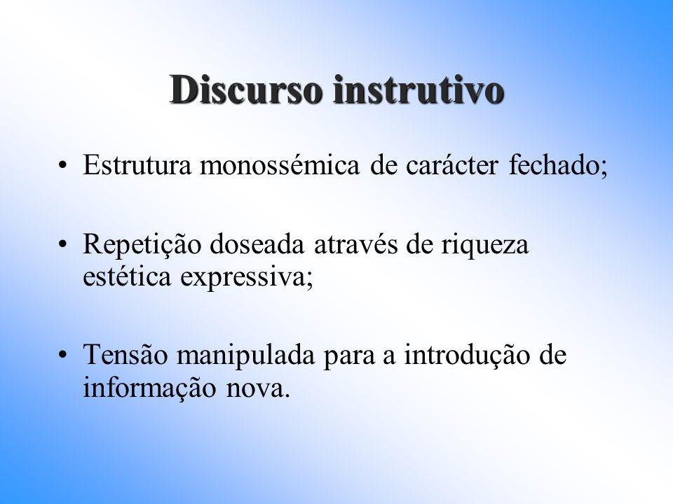 Discurso instrutivo Estrutura monossémica de carácter fechado;