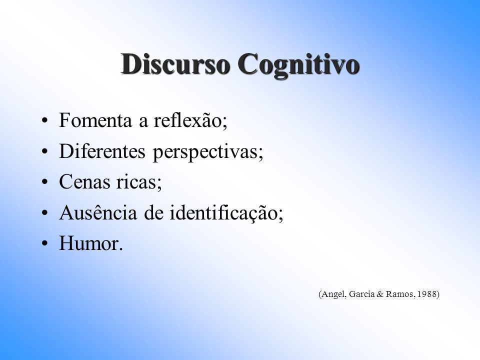 Discurso Cognitivo Fomenta a reflexão; Diferentes perspectivas;