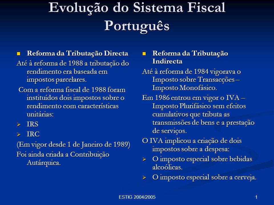 Evolução do Sistema Fiscal Português