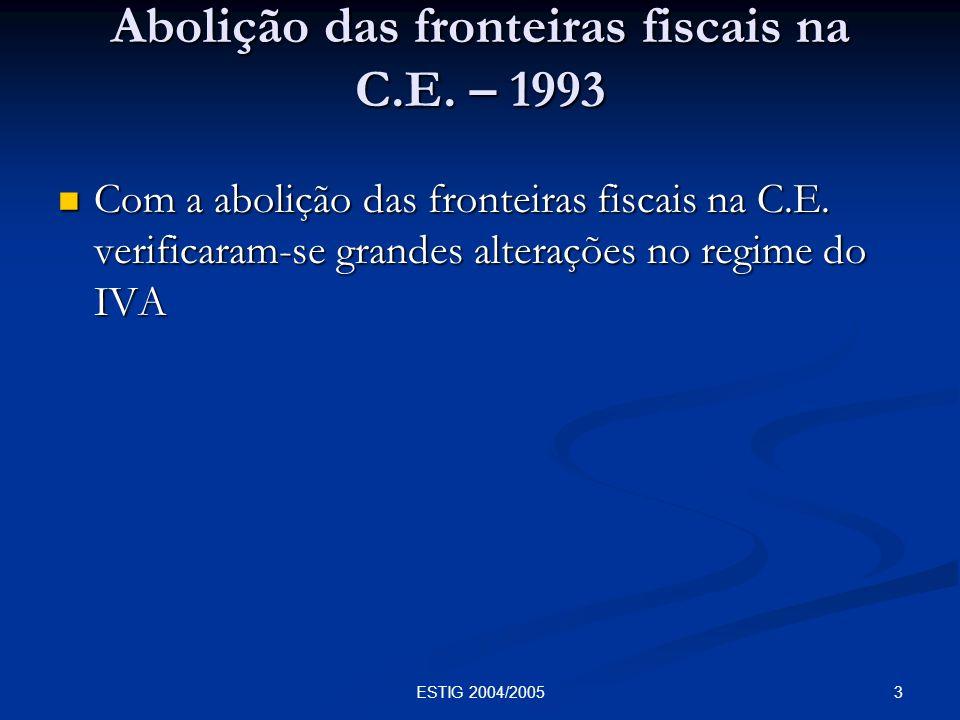 Abolição das fronteiras fiscais na C.E. – 1993