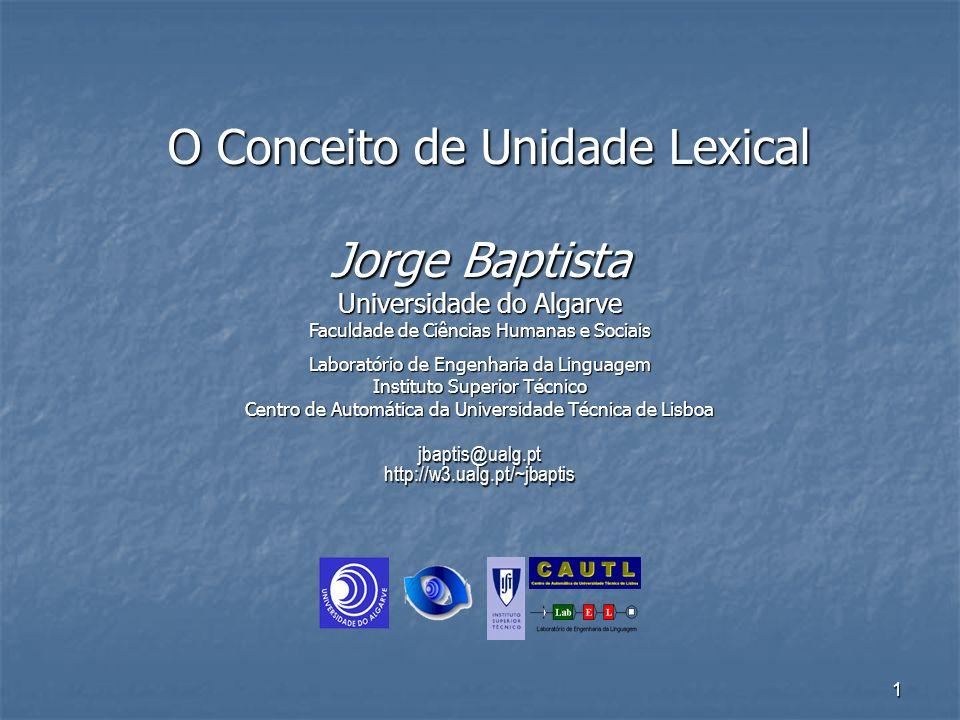 O Conceito de Unidade Lexical