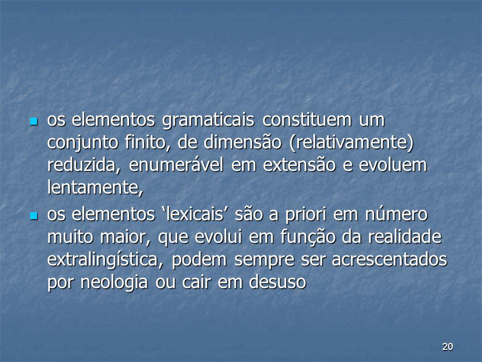 os elementos gramaticais constituem um conjunto finito, de dimensão (relativamente) reduzida, enumerável em extensão e evoluem lentamente,
