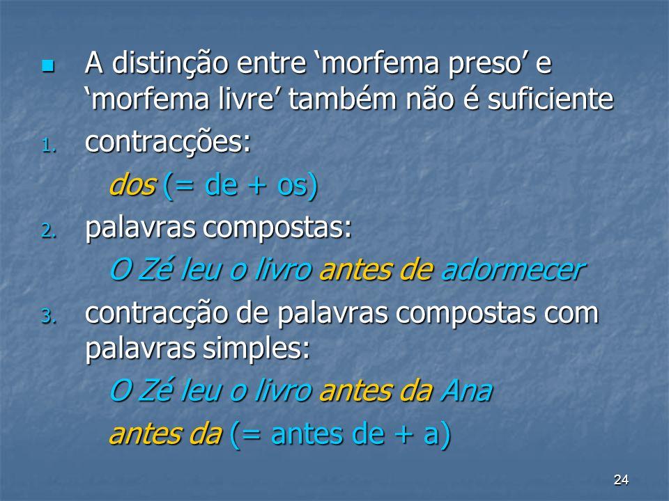 A distinção entre 'morfema preso' e 'morfema livre' também não é suficiente