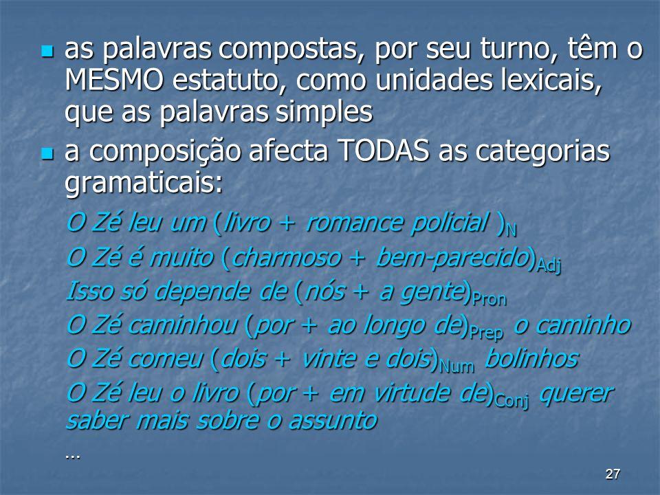 a composição afecta TODAS as categorias gramaticais: