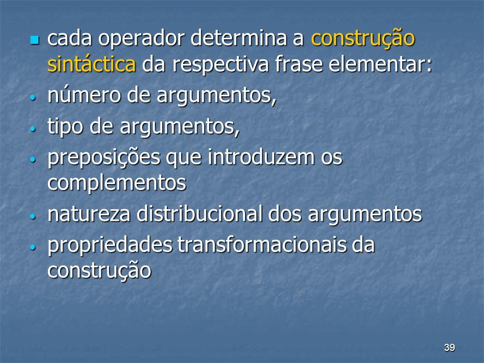 cada operador determina a construção sintáctica da respectiva frase elementar: