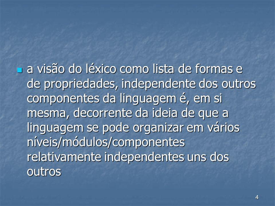 a visão do léxico como lista de formas e de propriedades, independente dos outros componentes da linguagem é, em si mesma, decorrente da ideia de que a linguagem se pode organizar em vários níveis/módulos/componentes relativamente independentes uns dos outros