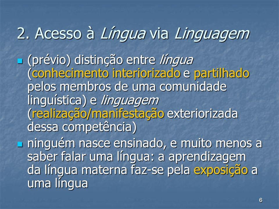 2. Acesso à Língua via Linguagem
