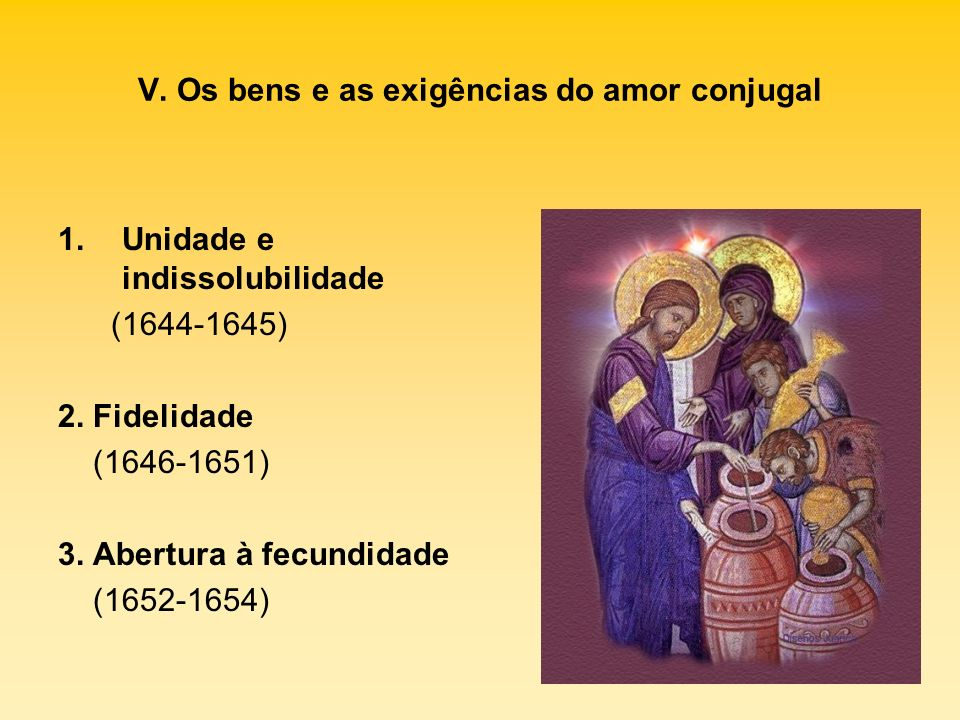 V. Os bens e as exigências do amor conjugal