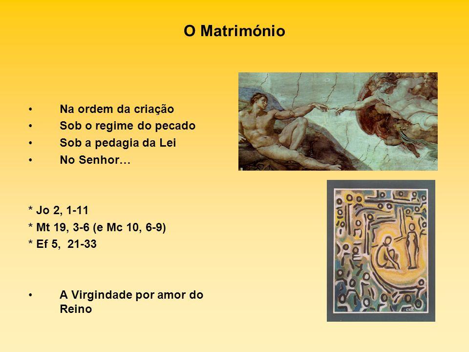 O Matrimónio Na ordem da criação Sob o regime do pecado