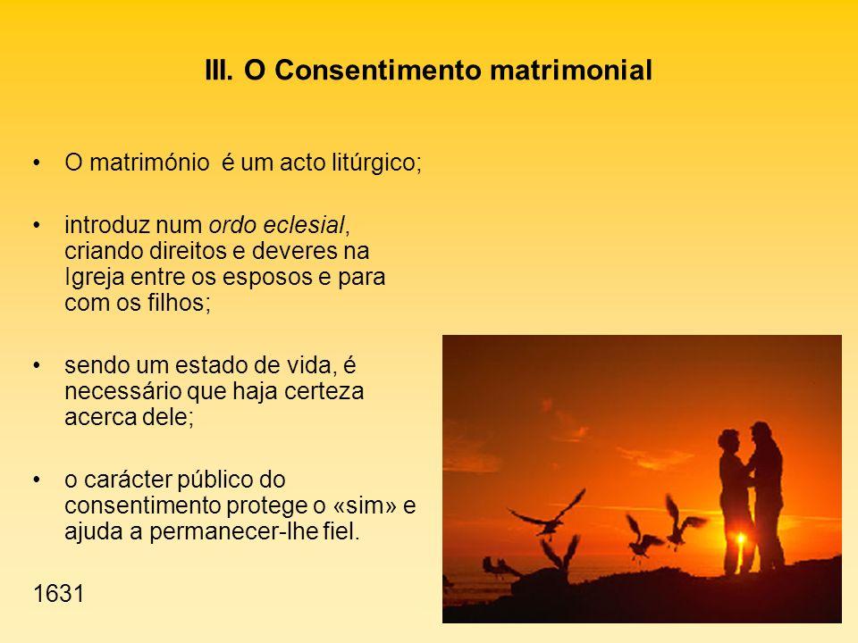 III. O Consentimento matrimonial