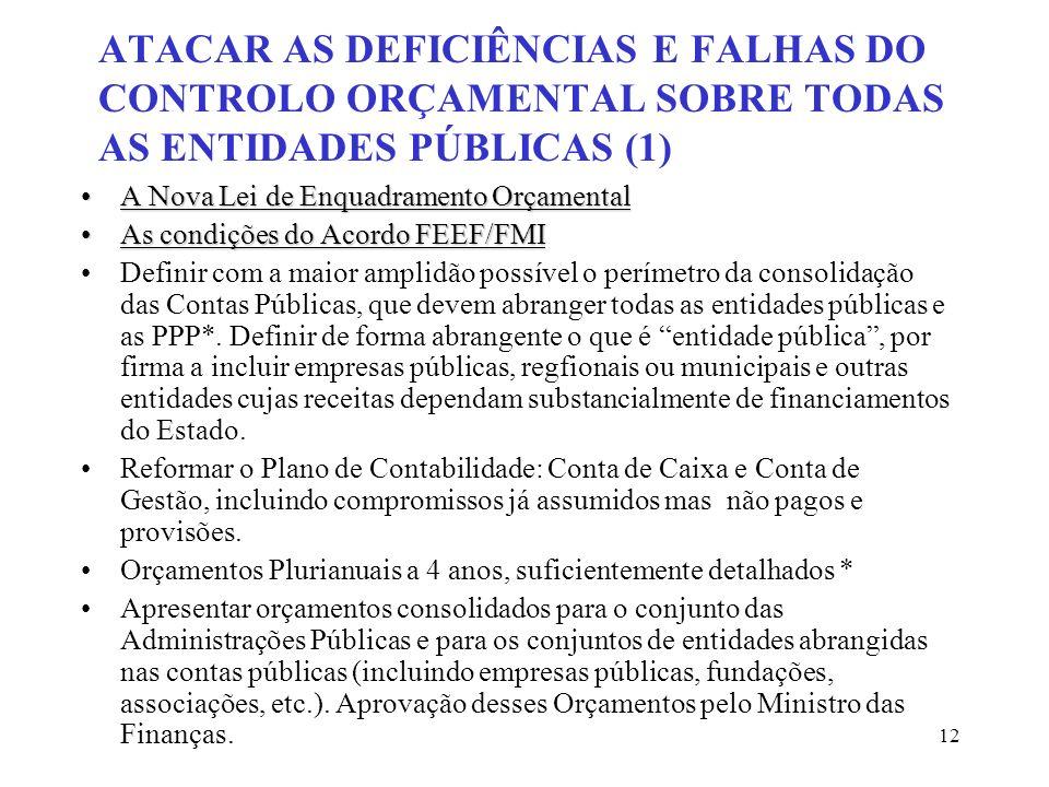 ATACAR AS DEFICIÊNCIAS E FALHAS DO CONTROLO ORÇAMENTAL SOBRE TODAS AS ENTIDADES PÚBLICAS (1)
