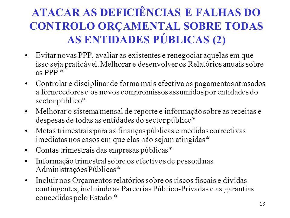 ATACAR AS DEFICIÊNCIAS E FALHAS DO CONTROLO ORÇAMENTAL SOBRE TODAS AS ENTIDADES PÚBLICAS (2)