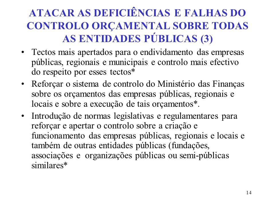 ATACAR AS DEFICIÊNCIAS E FALHAS DO CONTROLO ORÇAMENTAL SOBRE TODAS AS ENTIDADES PÚBLICAS (3)