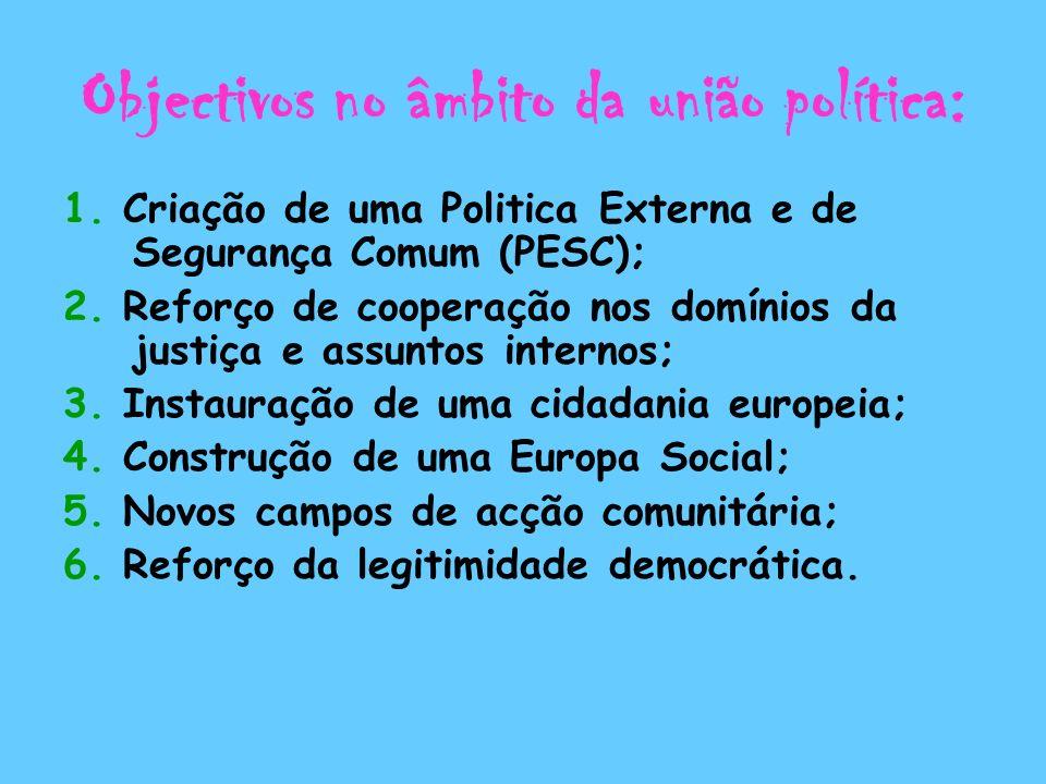 Objectivos no âmbito da união política: