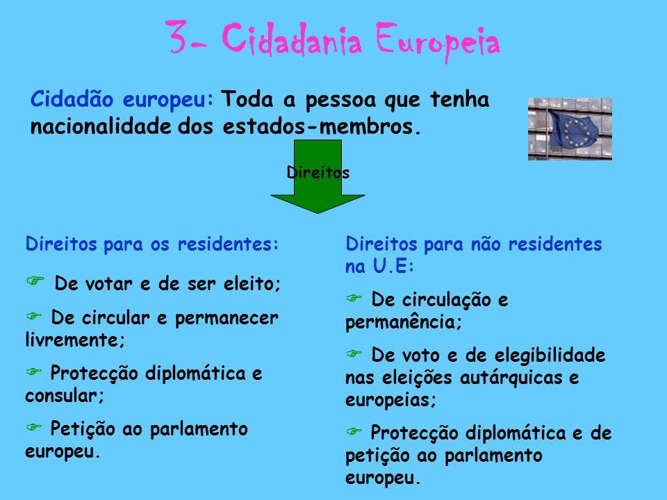 3- Cidadania Europeia Cidadão europeu: Toda a pessoa que tenha nacionalidade dos estados-membros. Direitos.