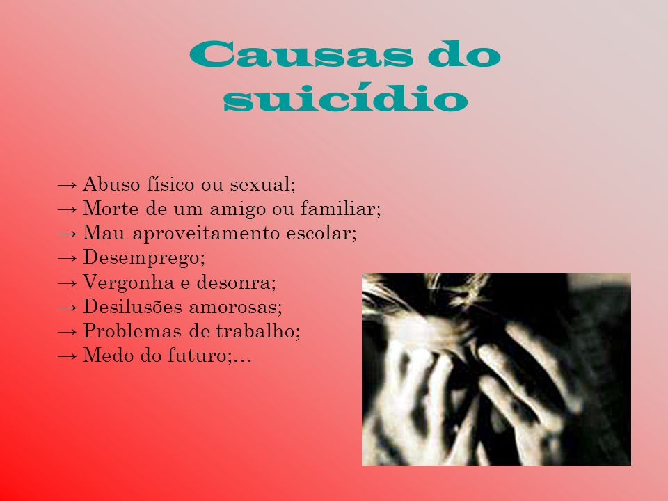 Causas do suicídio → Abuso físico ou sexual;