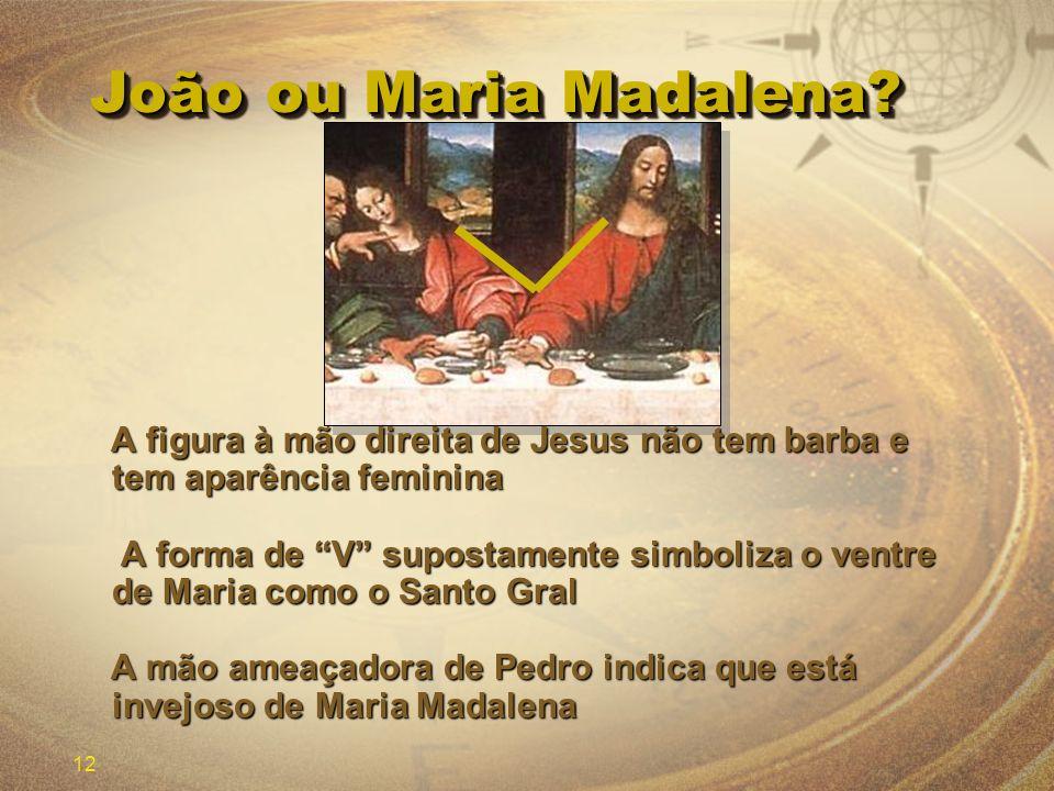 João ou Maria Madalena A figura à mão direita de Jesus não tem barba e tem aparência feminina.